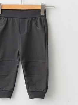 ANTHRACITE - Basic Baby Boy Trousers With Elastic Waist - W15708Z1