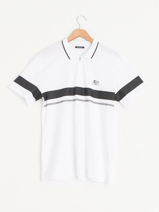WHITE - Polo Neck Short Sleeve Combed Cotton T-Shirt - 0WI752Z8